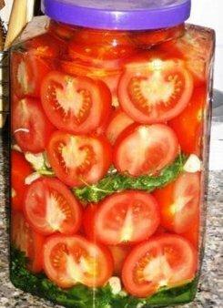Консервированные помидоры половинками