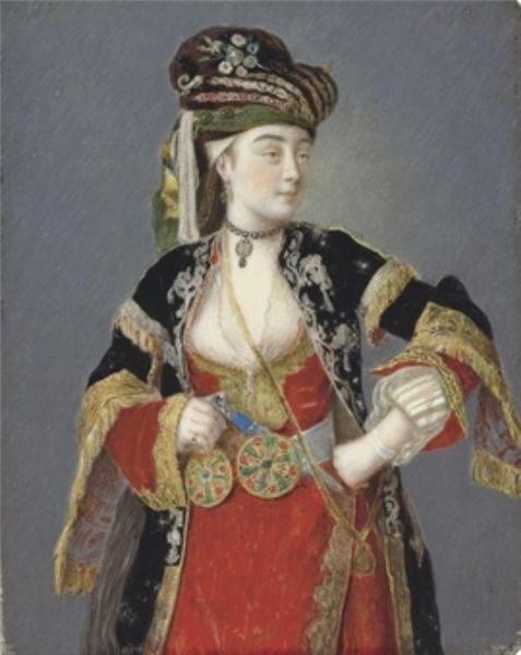 Жан Этьен Лиотар. Портрет дамы в турецком наряде, предположительно Лоры Тарси