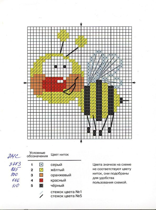 Пчелка - вышивка крестиком.