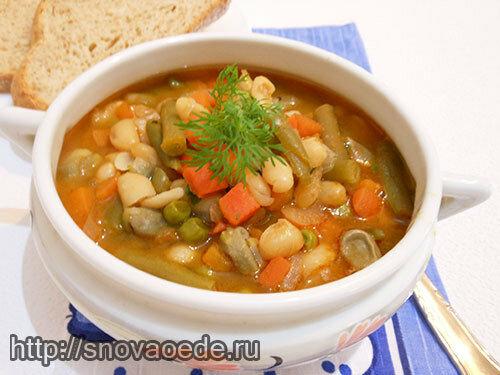 суп с фасолью и замороженными овощами