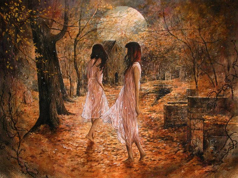 Полнолуние. Я растворилась в этой вечности, я  стала пылью неземной. Художник Жиль Гримо