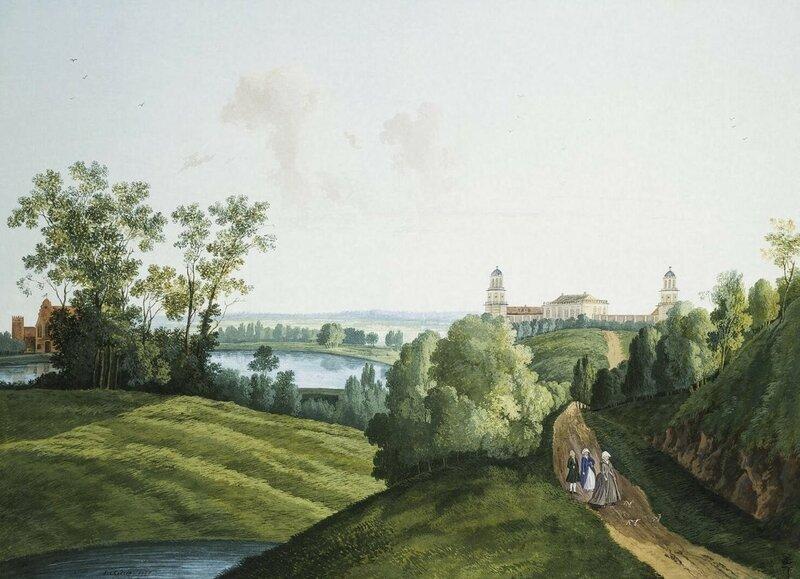 Семен Щедрин. вид из Екатерининского парка на здания Дворцового скотного двора в Царском Селе, 1777. Эрмитаж