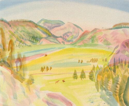 Горная долина в июне, Алтай. Бумага, акварель. 1980.jpg