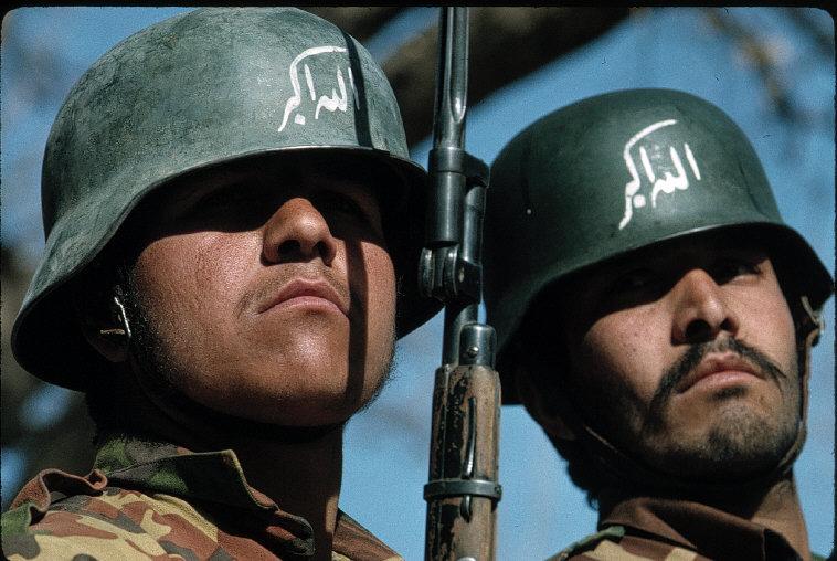 Jalalabad. 1994 Academy of new islamic army Allah O Akbar written on helmets.jpg