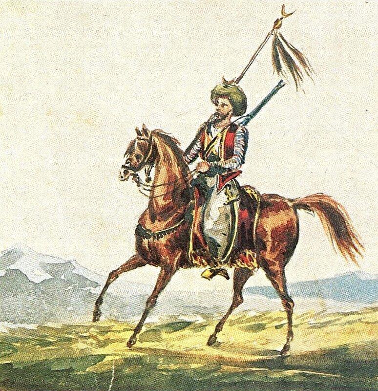 Конный горец со знаменем. 1836. Акварель.jpg