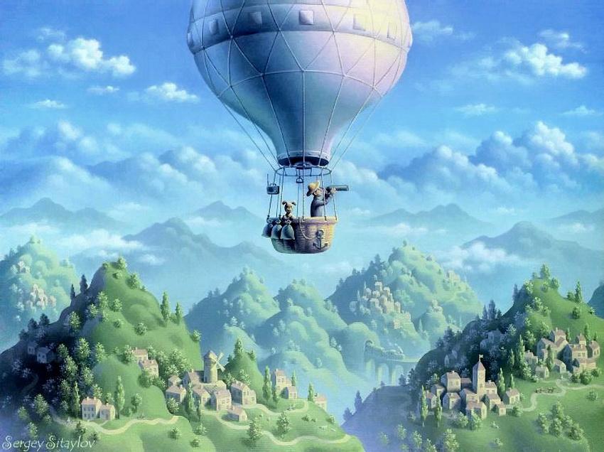 Сказочный воздушный шар в картинках