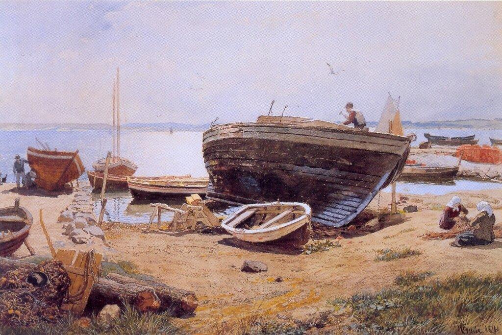 Hans Gude--En Bathavn--1891..jpg