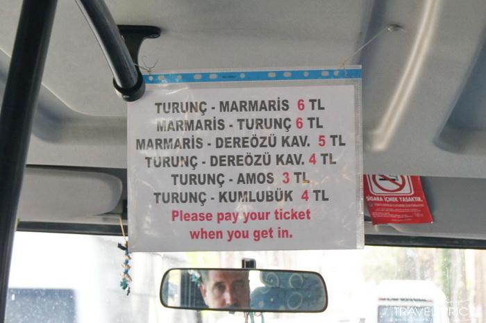 Мармарис-Турунч проезд стоит 6 лир