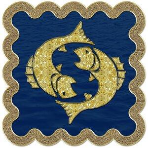 Рыбы - знак зодиака, рисунок, вариант № 3, печать, Апарышев.