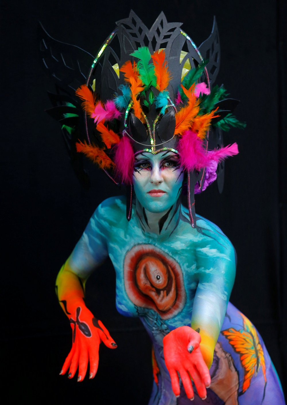 A model poses during the World Bodypainting Festival in Poertschach