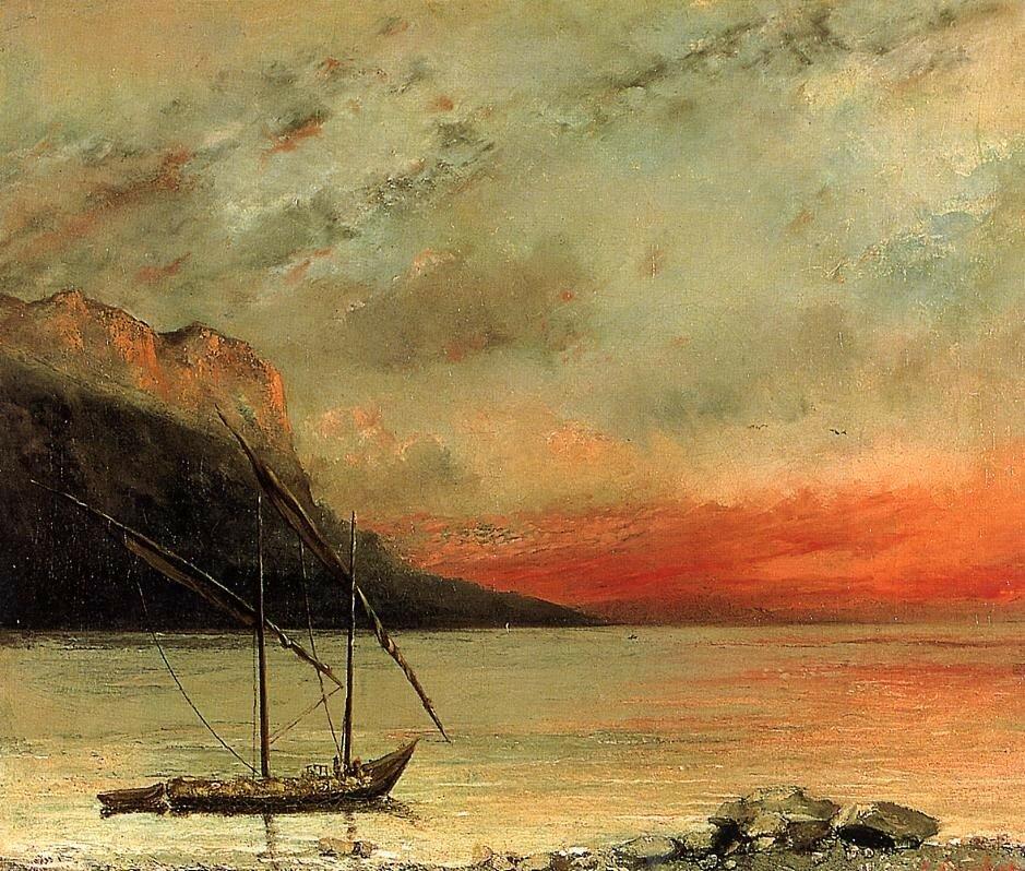 Гюстав Курбе: Закат на озере Леман