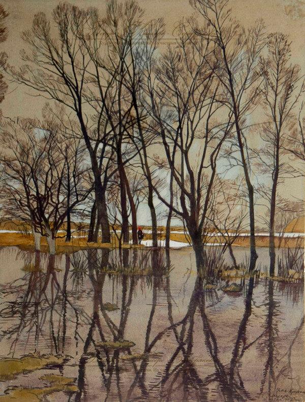 «Усть-Крестище. Весна, Разлив»1917 г.Лансере Евгений Евгеньевич (1875-1946)