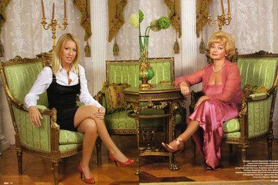 Л.Нарусова с дочерью Ксенией в своей квартире на Мойке