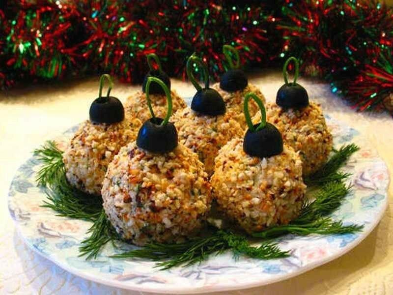 Праздничная закуска «Елочные шары»   берите на заметку к Новому году!