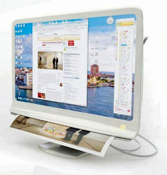 Монитор-принтер Combi Monitor. Тонкий монитор со встроенным принтером – настоящая находка для