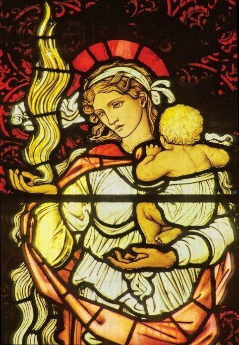 Любовь. Витраж Эдварда Берн-Джонса, храм святого Мартина (Brampton, Великобритания)