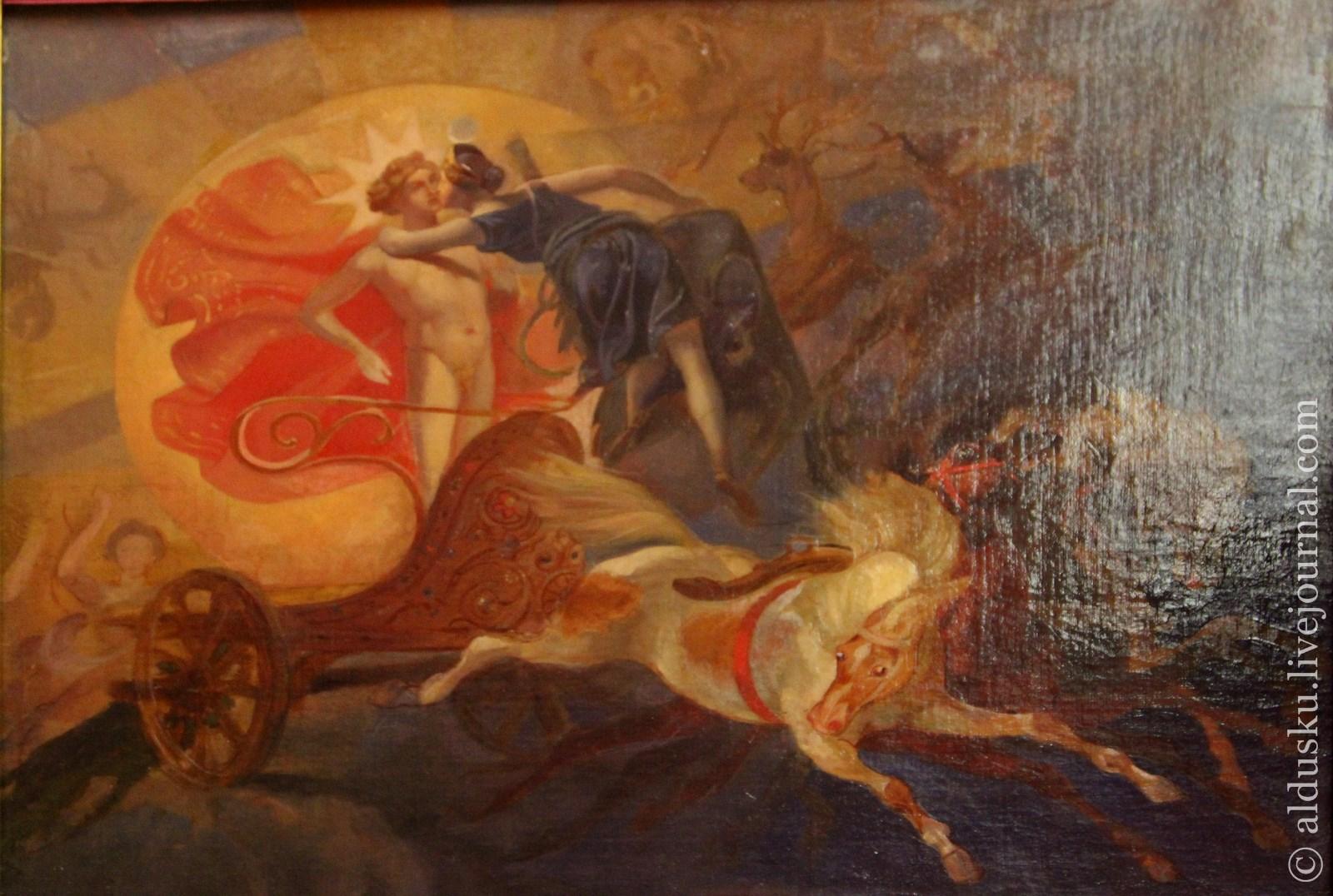 Брюллов К.П. (1799–1852) Затмение солнца (Прощание Дианы с Аполлоном). 1851–1852. Эскиз картины. Холст, масло