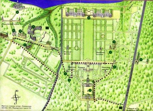 Схема объектов усадьбы Архангельское