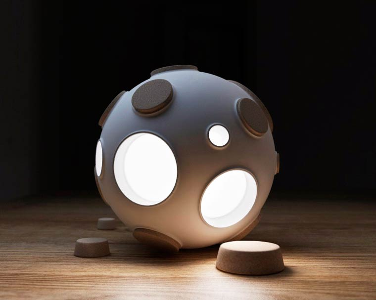 Armstrong Light Trap – A modular lamp inspired by the craters of the Moon