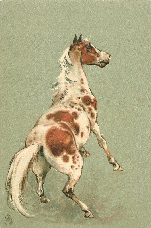 Лошади на старинных открытках, открытки программа писать