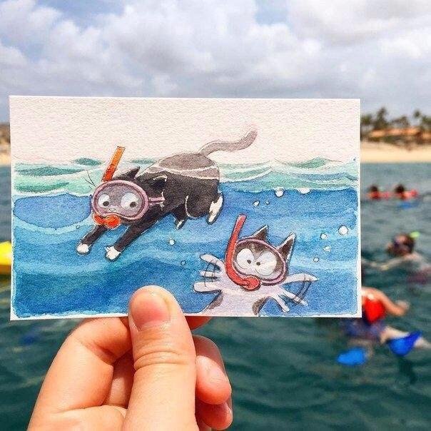 Художник из студии Disney Фавн Вирасунторн создал серию забавных иллюстраций с приключениями веселых котов (6 фото)