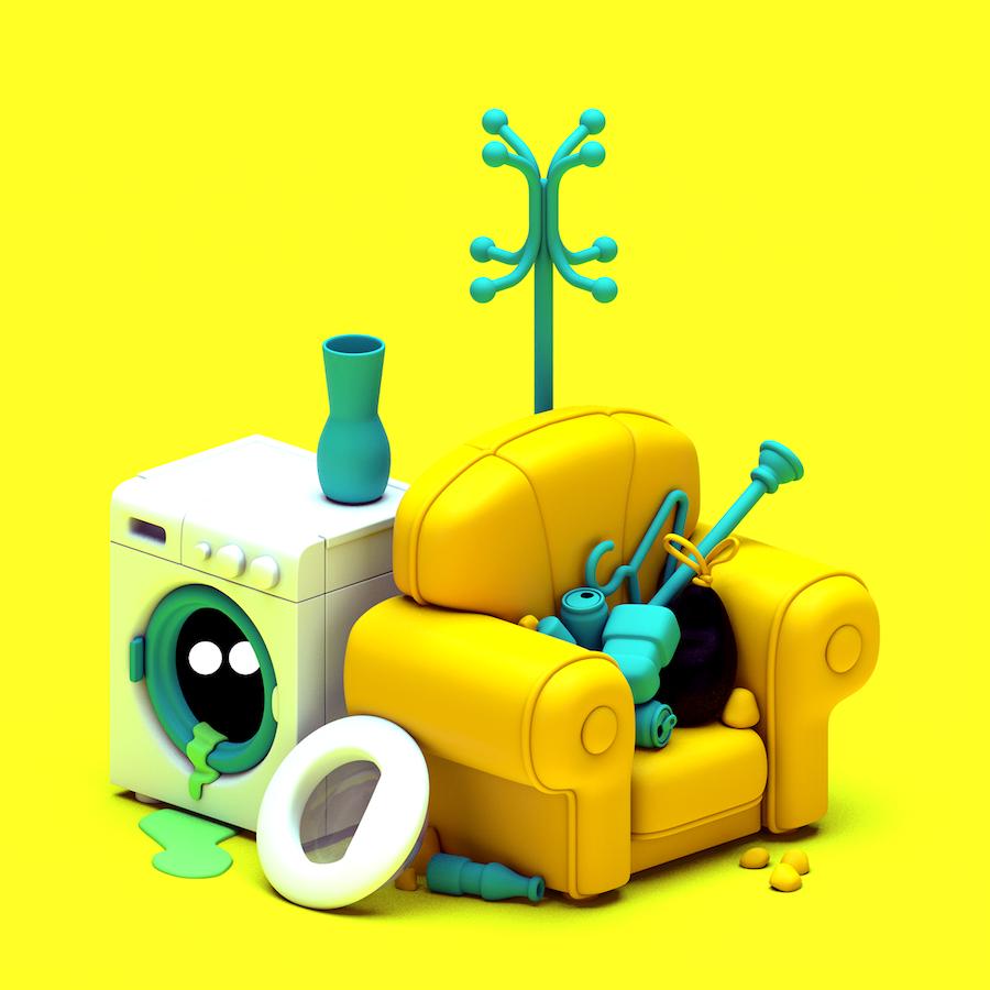digital art fun Illustration instagram colors trash Digital environment