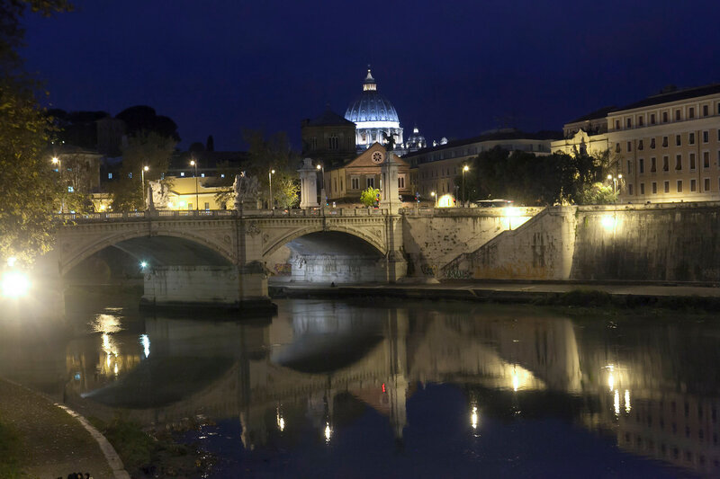 View of Ponte Sisto and St. Peter's basilica, Rome, Italy