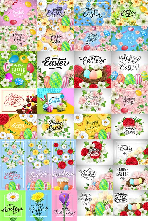 Счастливой пасхи - Фоны в векторе - 2 / Happy Easter - Background in vector -2