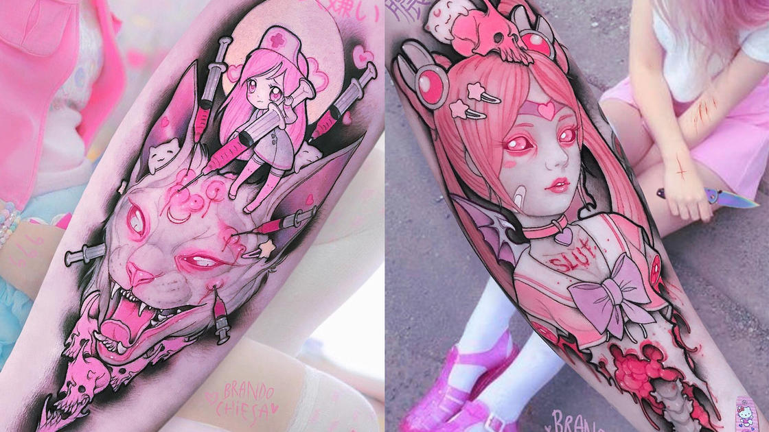 Pink gore and Pop Culture – The latest tattoos by Brando Chiesa (25 pics)