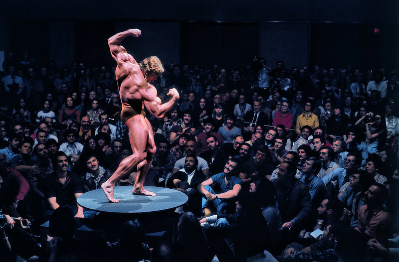 New York City, 1976, Arnold Schwarzenegger, Articulate Muscle, The Male Body in Art at the Whitney Museum by Elliott-Erwitt.jpg