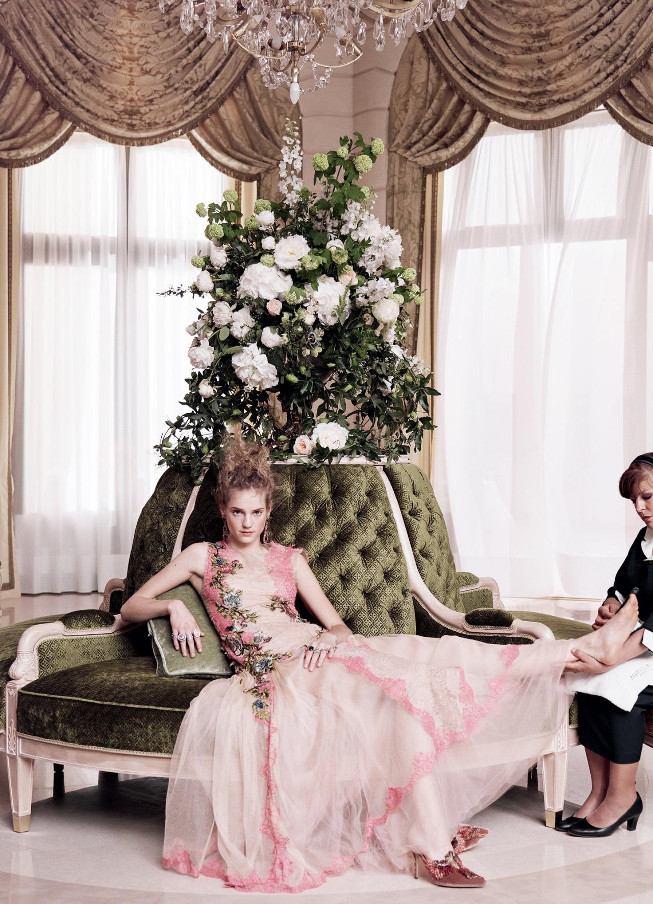 Grand Hotel Vogue US July 2016 Anna Brewster, Noemie Schmidt, George Blagden Mikael Jansson