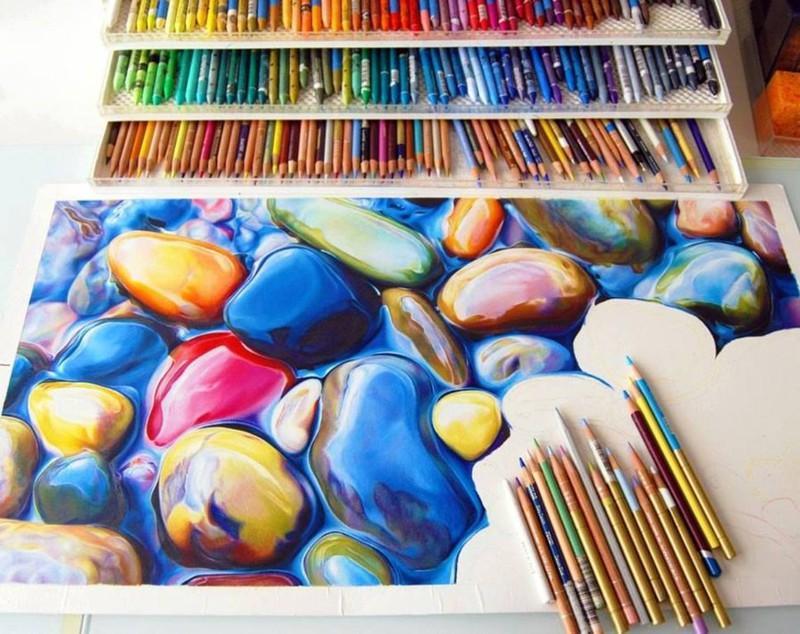 22. Невероятной красоты рисунок, выполненный цветными карандашами.