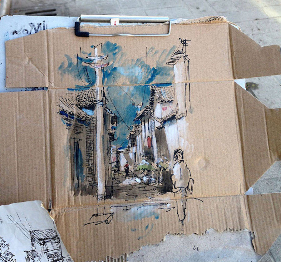 Beautiful Illustrations on Discarded Cardboards