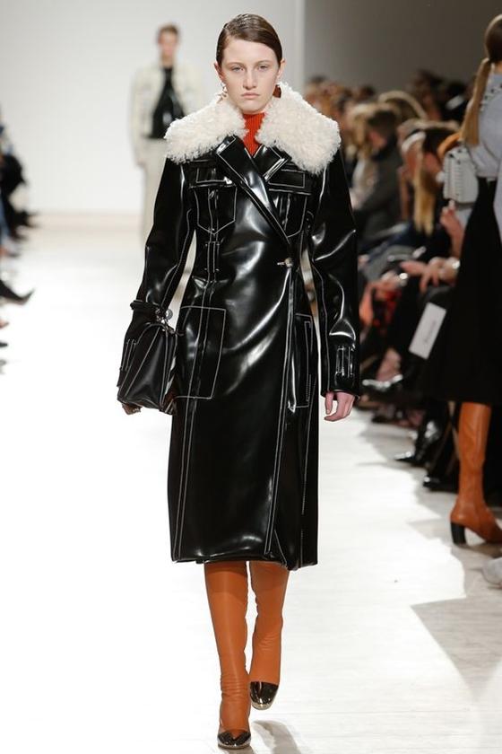 Proenza Schouler черное кожаное пальто с мехом