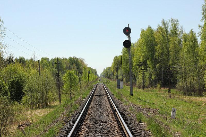 Входной светофор Н станции Рождествено, вид на Вязьму