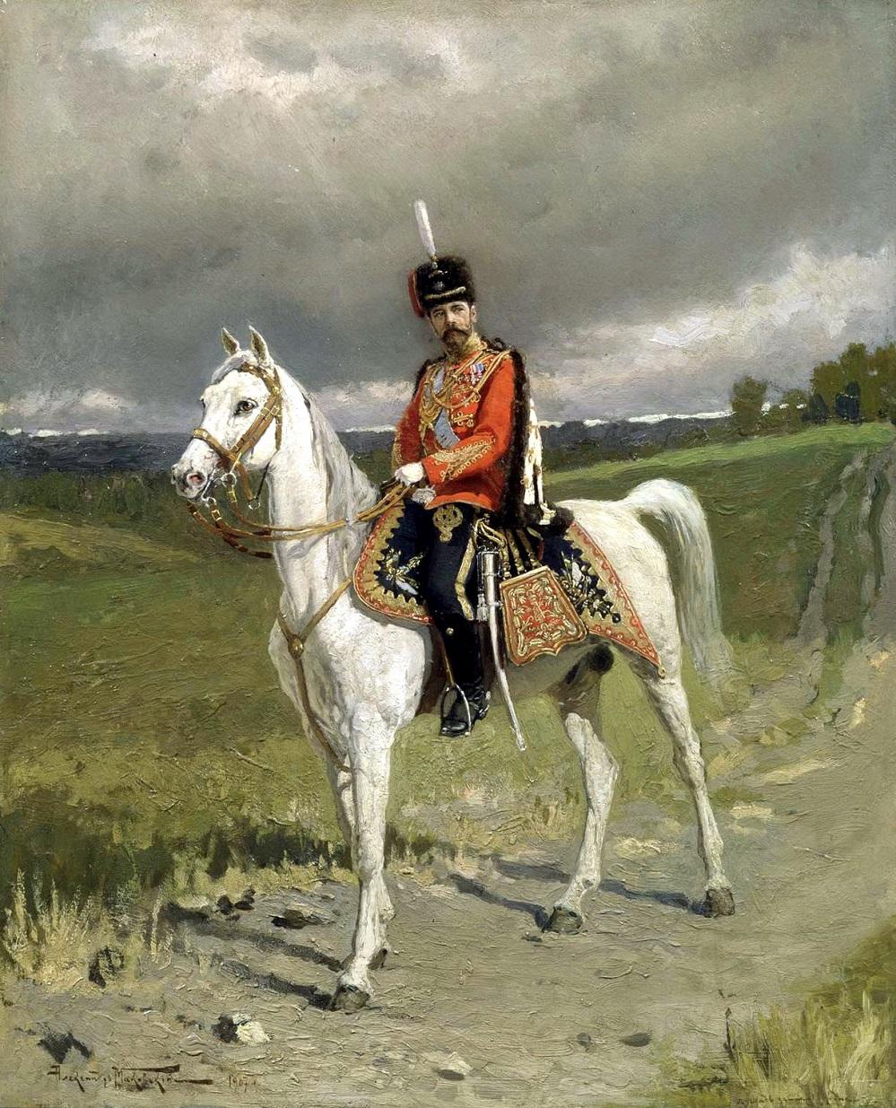 Император Николай II в форме Его Императорского Величества Лейб-Гвардии Гусарского полка