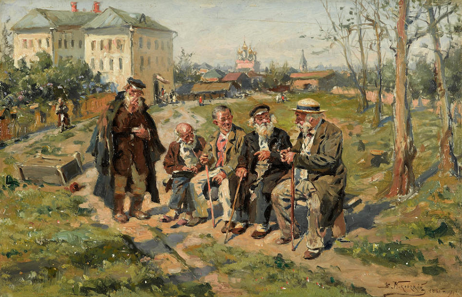 Conversation on a sunny day, 1885-1914.
