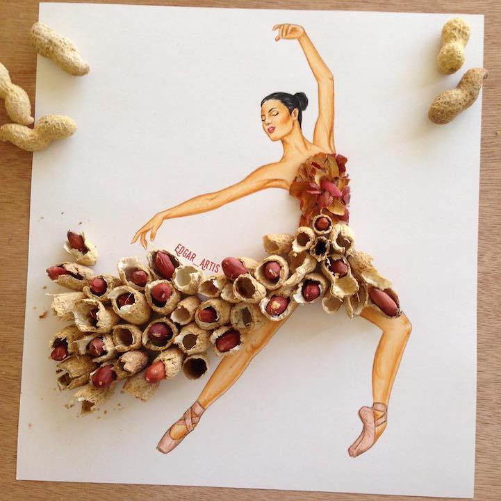 Ilustracoes sao misturadas com elementos do cotidiano para criar movimentos graciosos