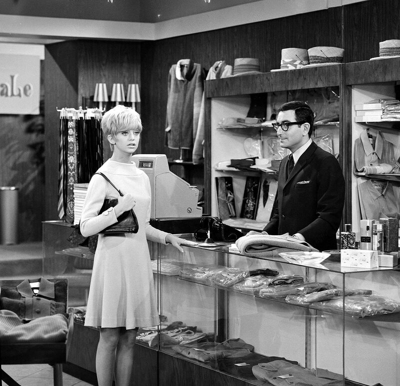 American actors Goldie Hawn (as Sandy Kramer) and Charlie Brill (as Milton Pervis) appear in an episode of the television show 'Good Morning Wold' called 'Knits To You, Sir,' June 20, 1967.