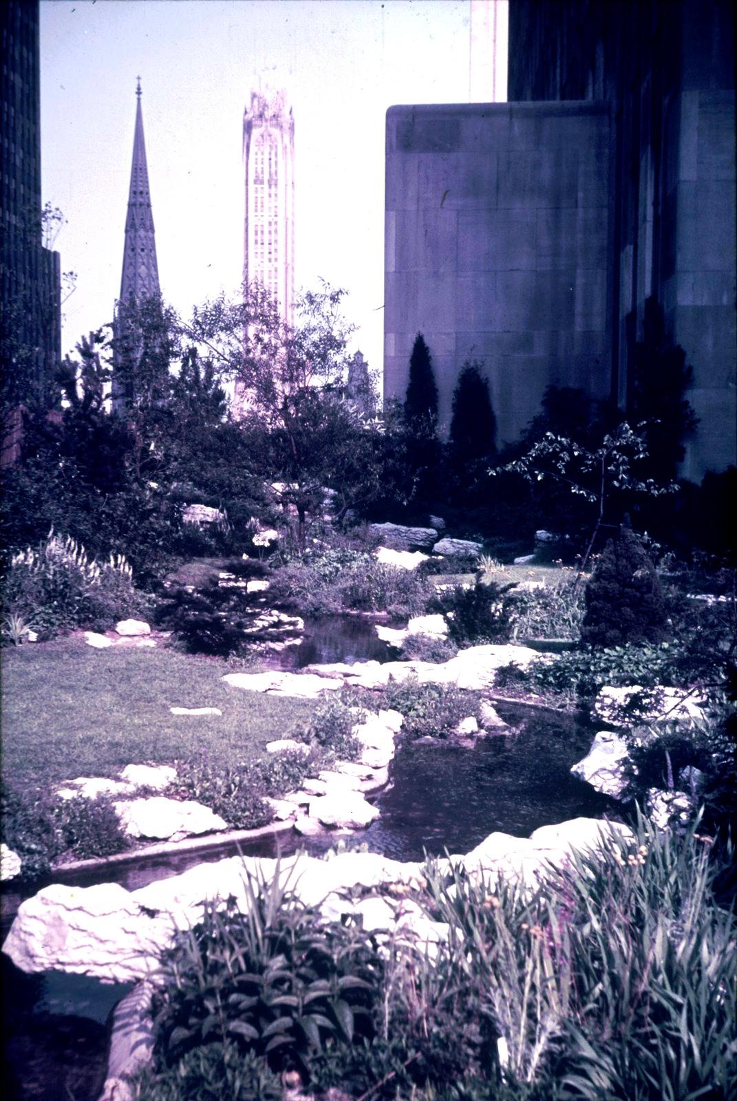 Нью-Йорк. Японский сад с видом на небоскреб  Лексингтон-авеню