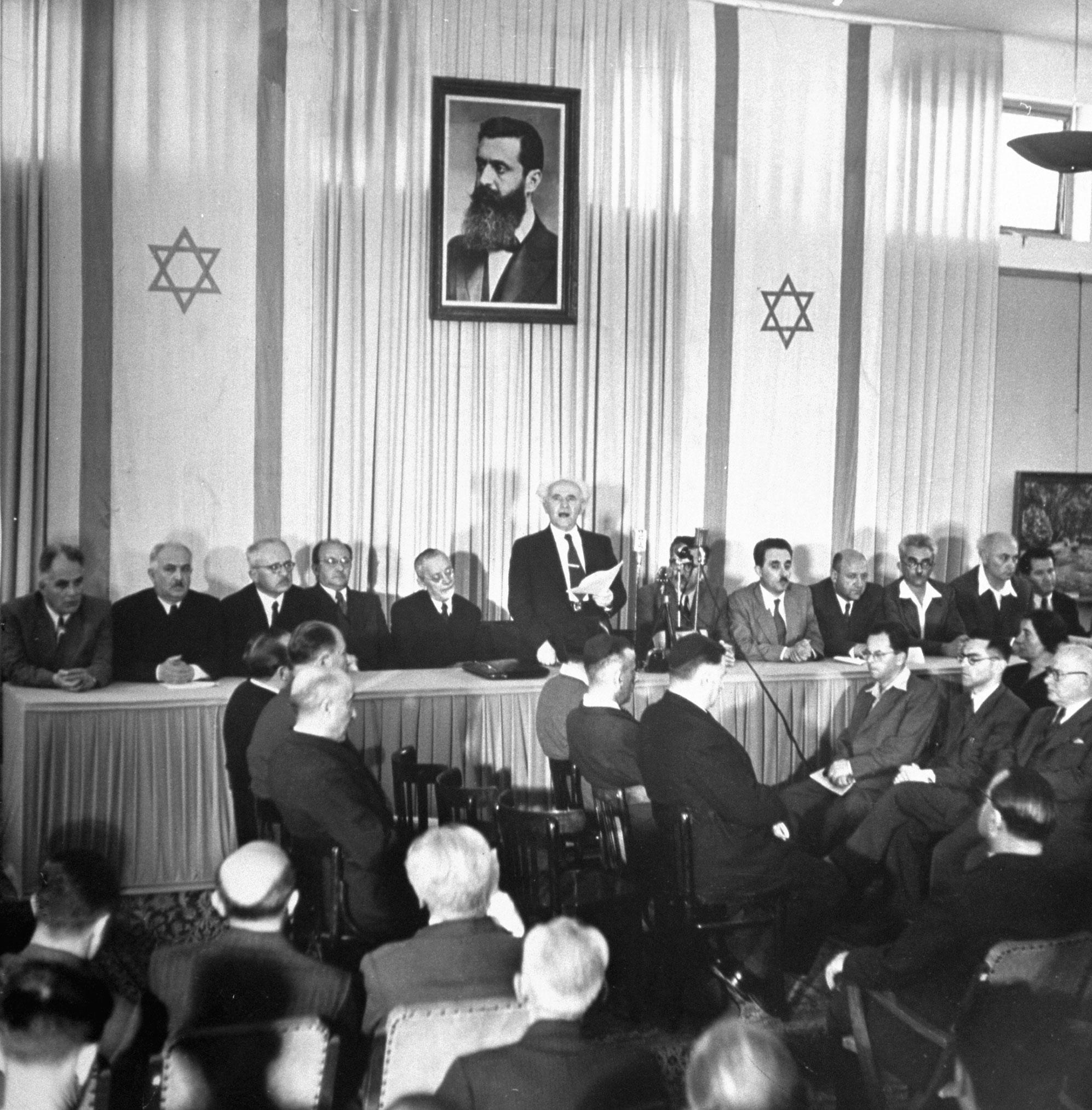 Дэвид Бен-Гурион зачитывает «Декларации независимости Израиля». 14 мая