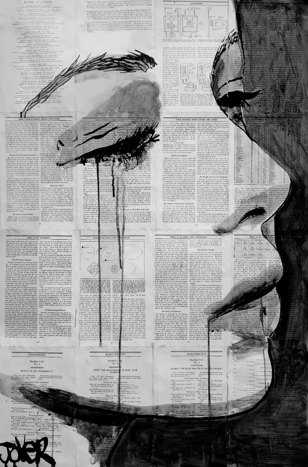 Pen and Ink Drawings on Vintage Book Pages - Loui Jover