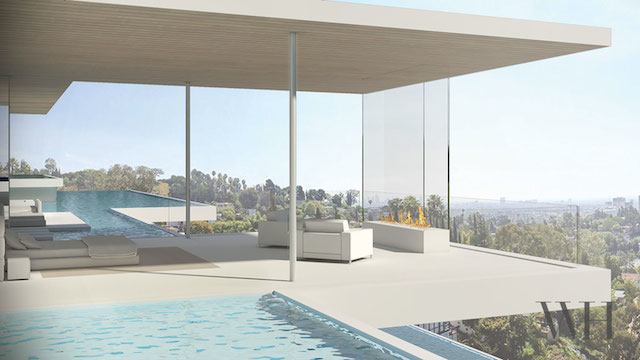 Hollywood Hills Residence with Two Levels of Pools