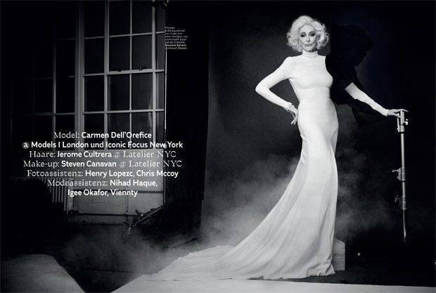 Fashion Icon Carmen Dell'Orefice Stars in L'Officiel Switzerland March 2018 Issue