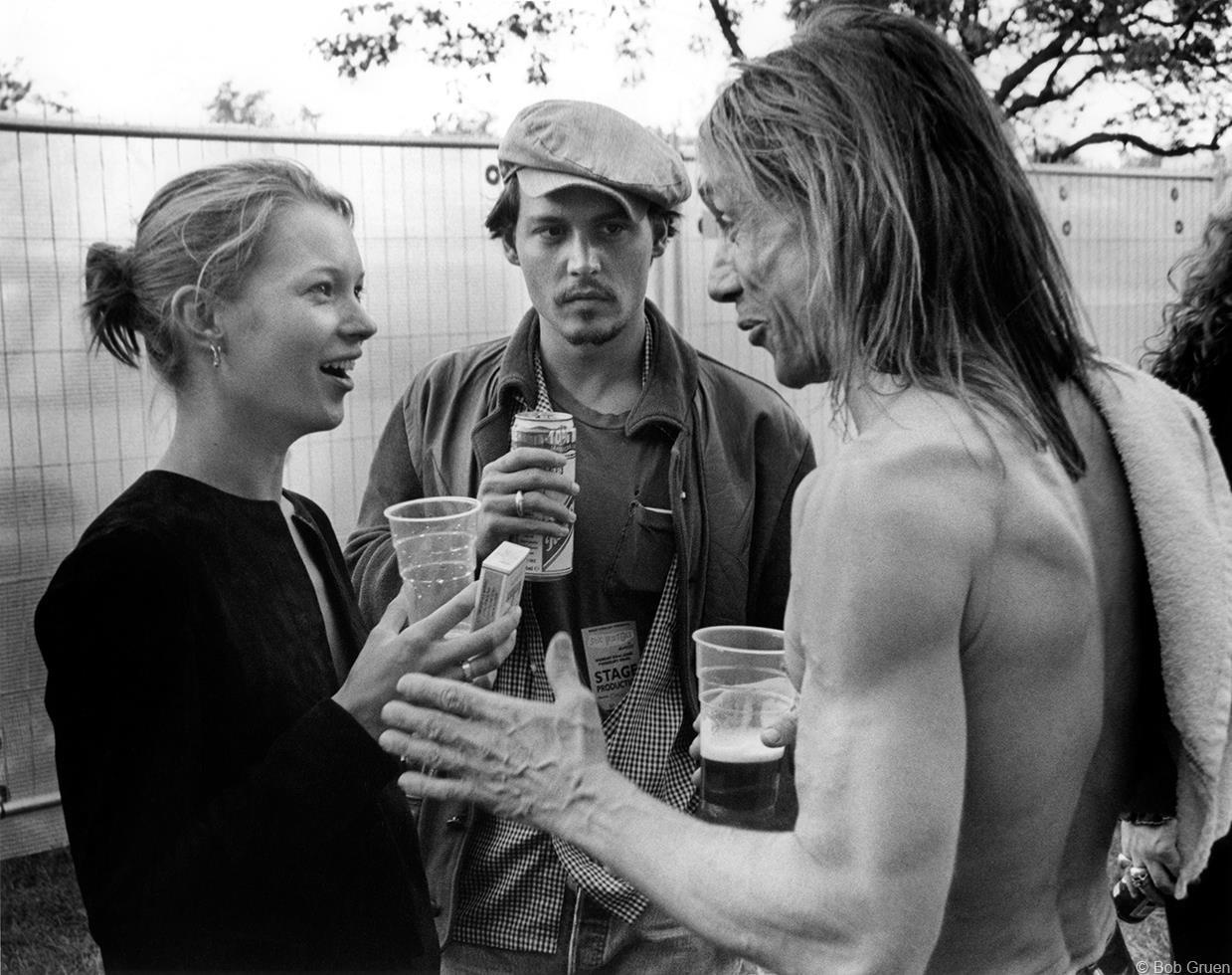 1996. Кейт Мосс, Джонни Депп & Игги Поп. Лондон, Великобритания