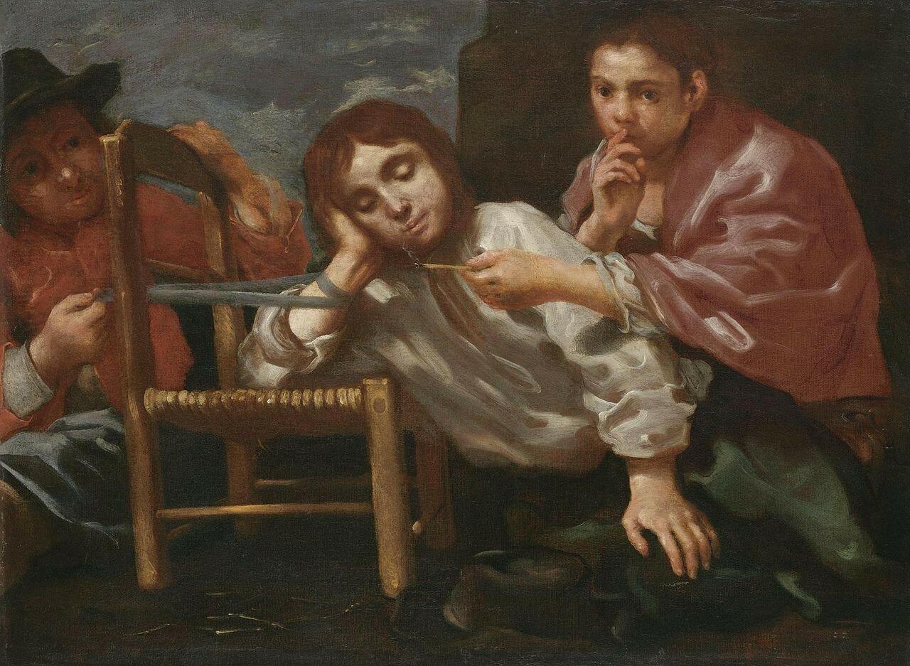 Bernhardt_Keil_-_Two_children_playing_a_practical_joke_on_a_sleeping_boy.jpg