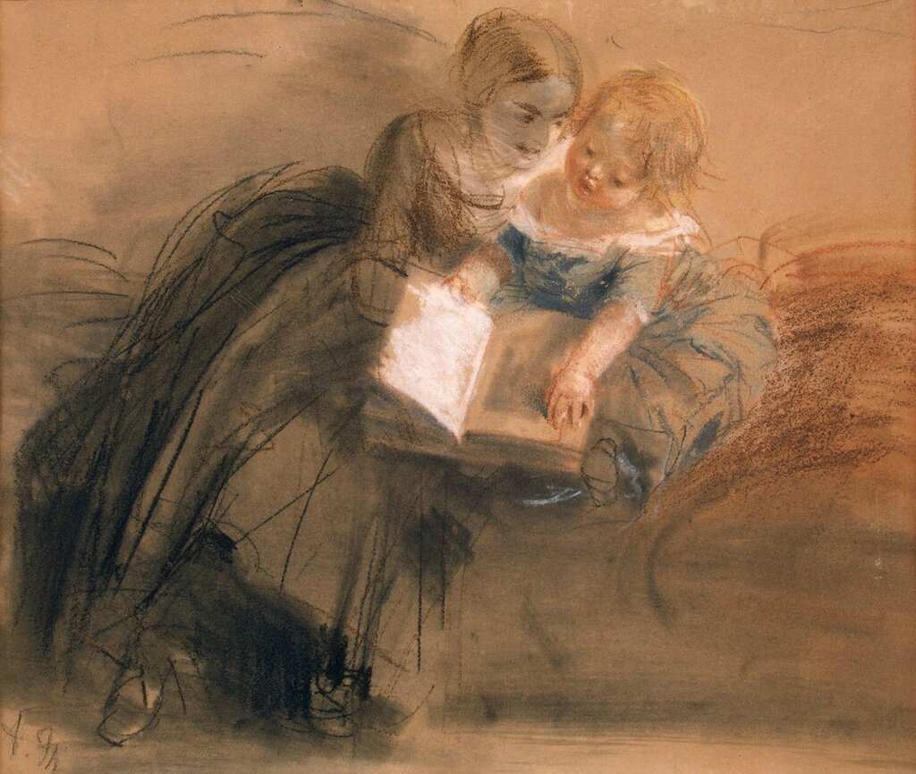 Эрмитаж: Менцель, Адольф фон - Молодая женщина с ребенком