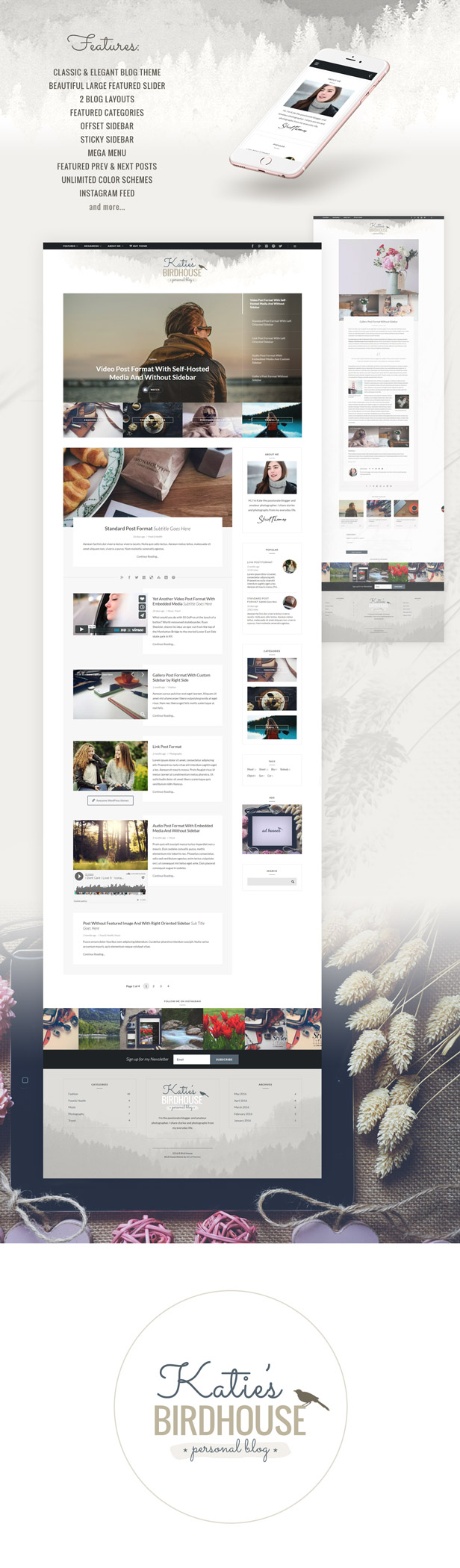 BirdHouse - A Responsive WordPress Blog Theme (Personal