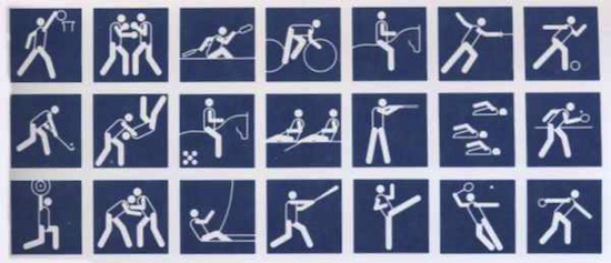 Логотипы олимпийских видов спорта разных лет