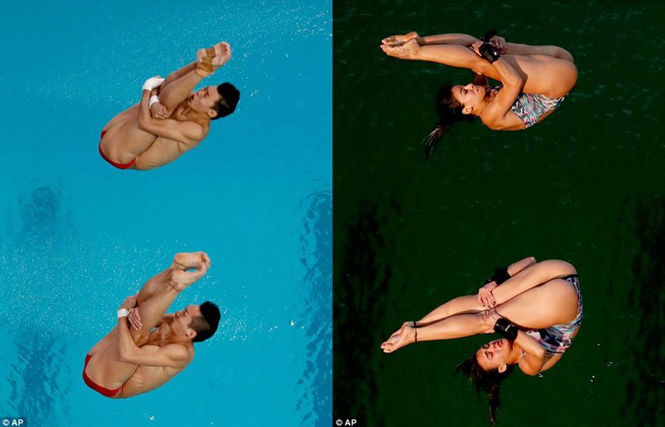 Вот это разница! Слева — китайские спортсмены Линь Юэ и Чень Айсень, завоевавшие золото в синхронных